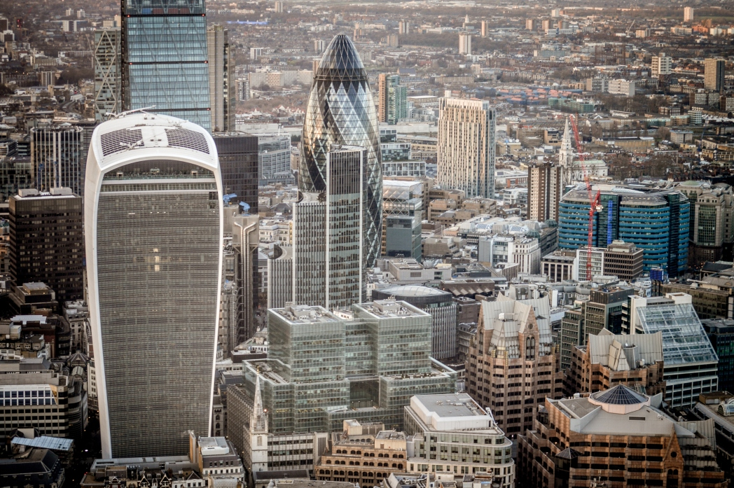 A view of the skyscrapers in London